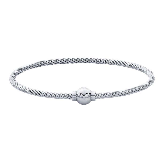 Sterling Silver 3mm Cable Wire Bracelet with Threaded Ball End
