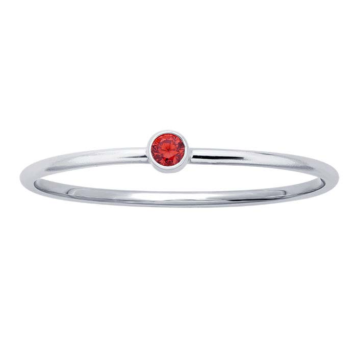 Sterling Silver Light Red CZ-Set Rings