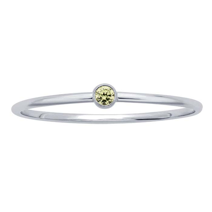 Sterling Silver Lime-Green CZ-Set Rings