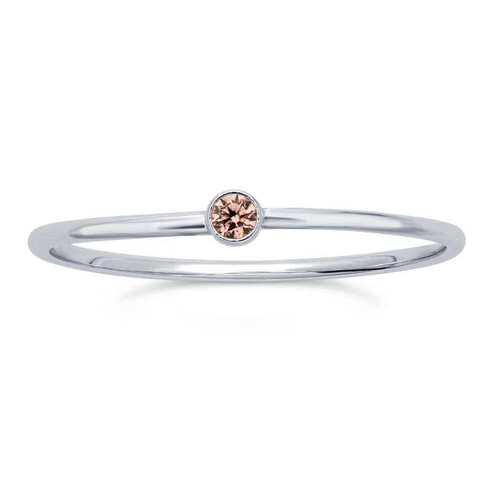Sterling Silver Pink CZ-Set Rings