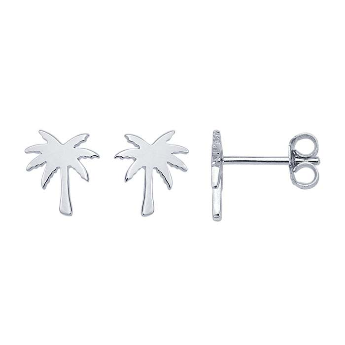 Sterling Silver Rhodium-Plated Palm Tree Post Earrings