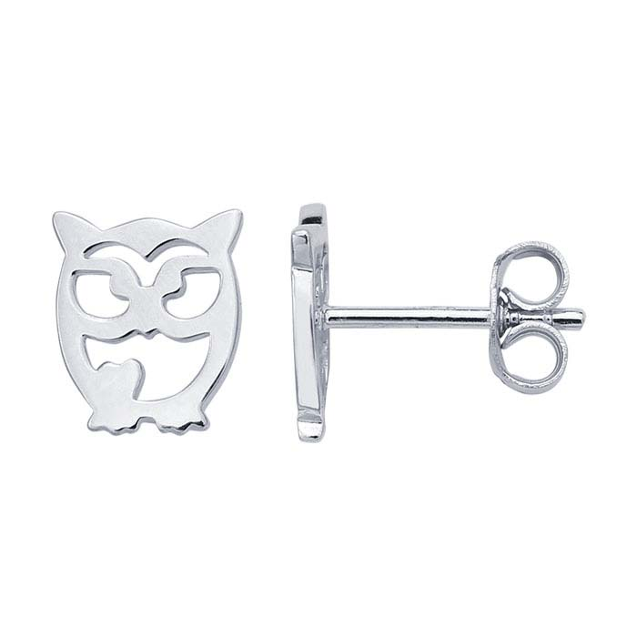 Sterling Silver Rhodium-Plated Cut-Out Owl Post Earrings