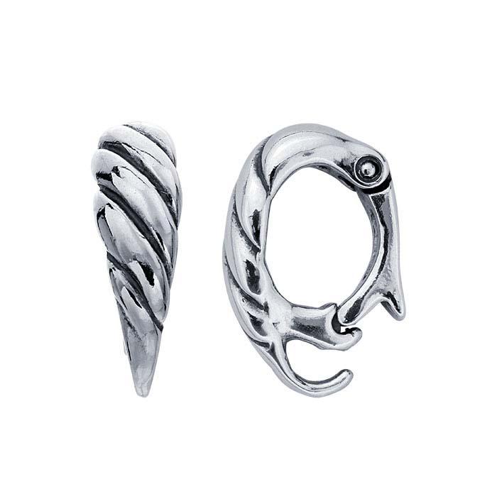 Sterling Silver Twist-Design Hinged Necklace Enhancer with Hook