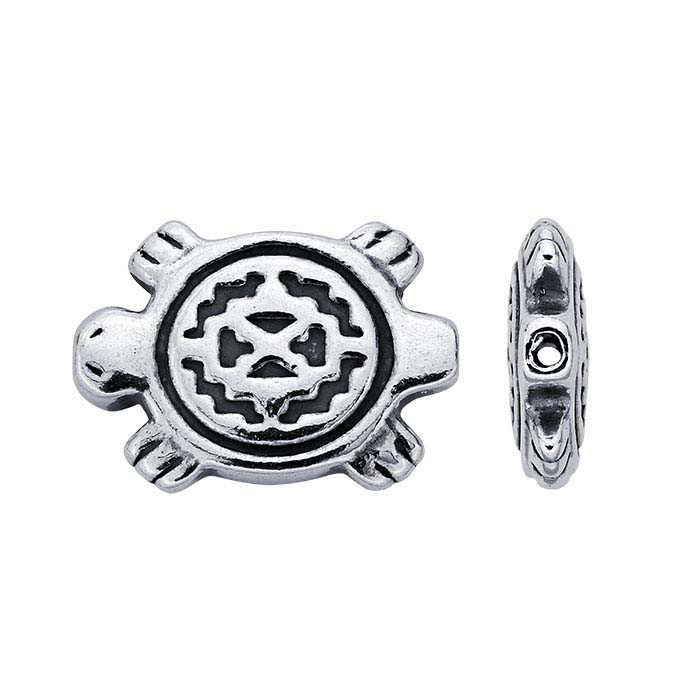 Sterling Silver 9 x 12.7mm Turtle Fetish Bead