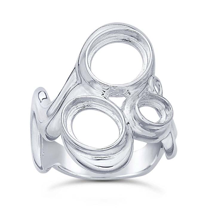 Sterling Silver Abstract Three-Stone Ring Mountings