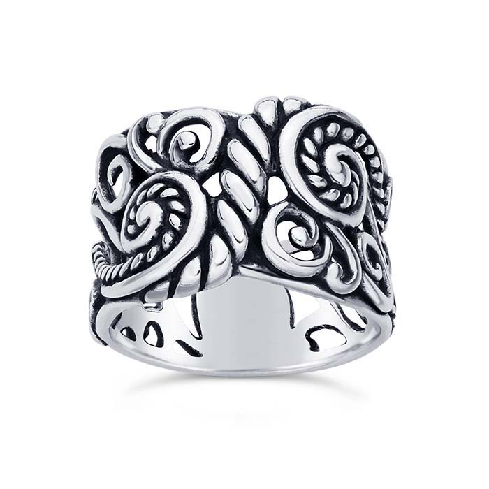 Sterling Silver Oxidized Rope & Swirls Design Rings