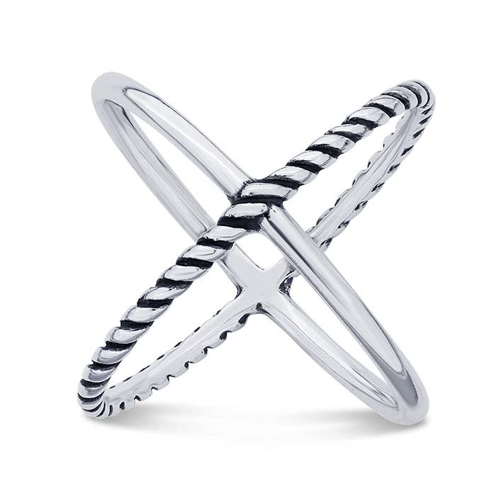 """Sterling Silver Smooth & Rope Open """"X"""" Rings"""