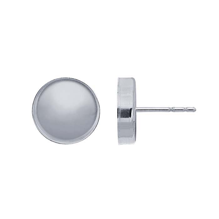 Sterling Silver 10mm Round Cabochon Post Earring Mounting