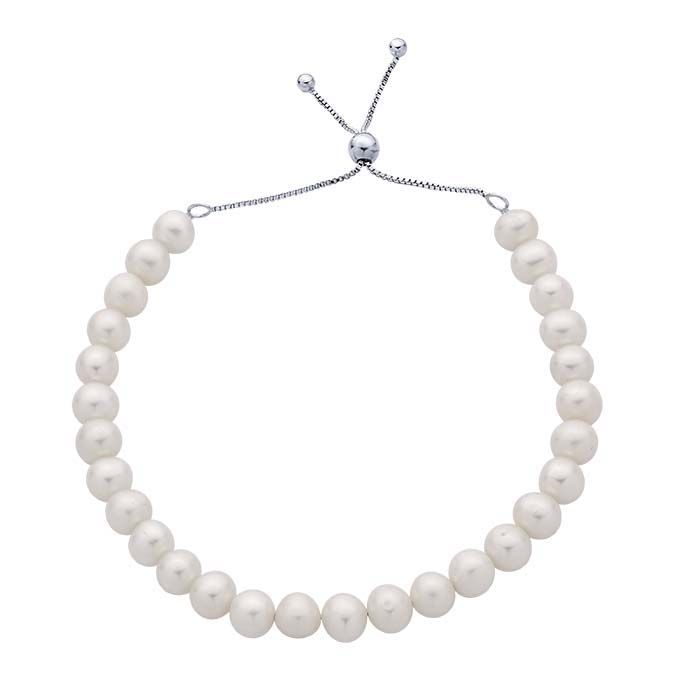 Sterling Silver Rhodium-Plated Freshwater Pearl Bracelet, Adjustable