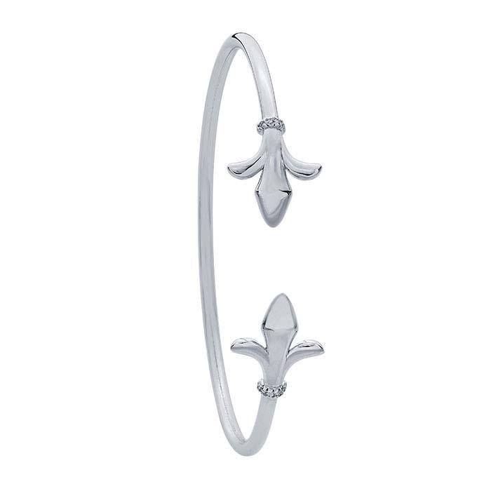 Sterling Silver CZ-Set Fleur-de-Lis Cuff Bracelet