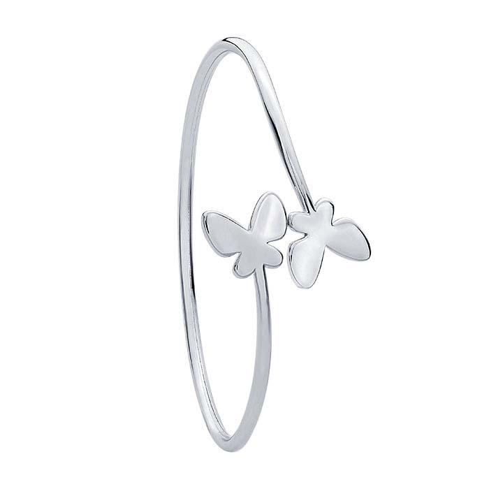 Sterling Silver Butterfly Bypass Cuff Bracelet