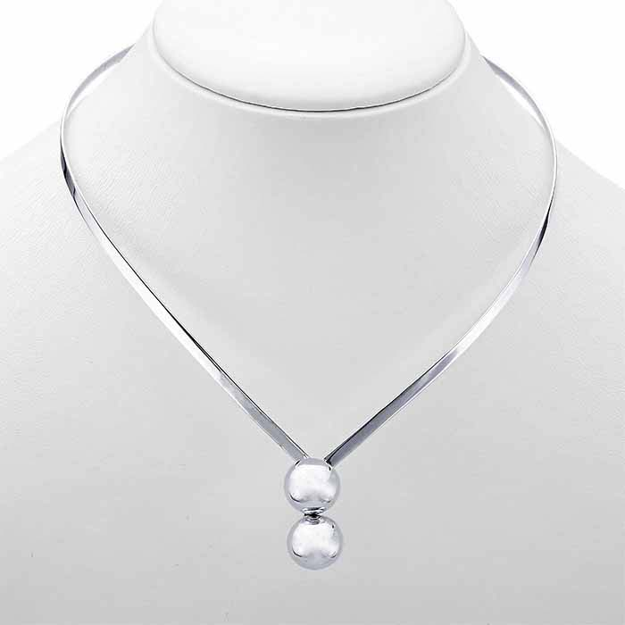 Sterling Silver 3.5mm Flat-Wire Neck Ring with Cross-Over Ball Ends
