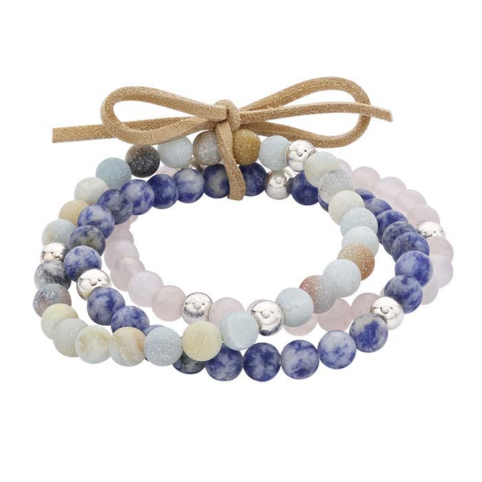 Rose Quartz, Denim Lapis and Agate Bead Stretch Bracelet Assortment