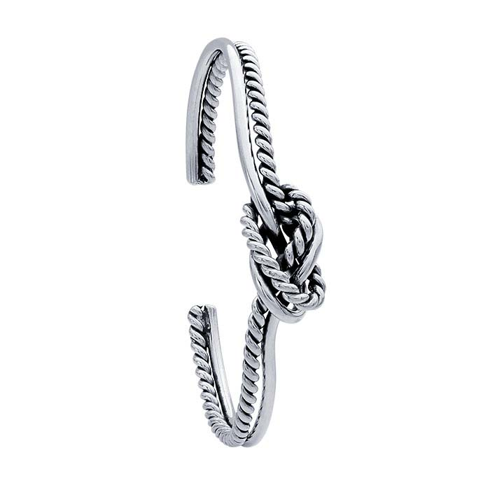 Sterling Silver Knotted Double-Strand Cuff Bracelet