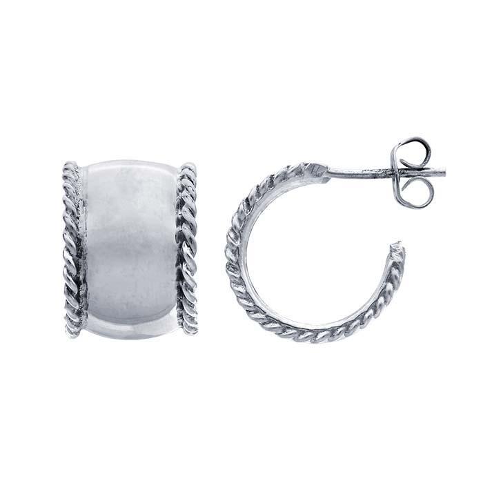 Sterling Silver Rope-Edge Hoop Earrings