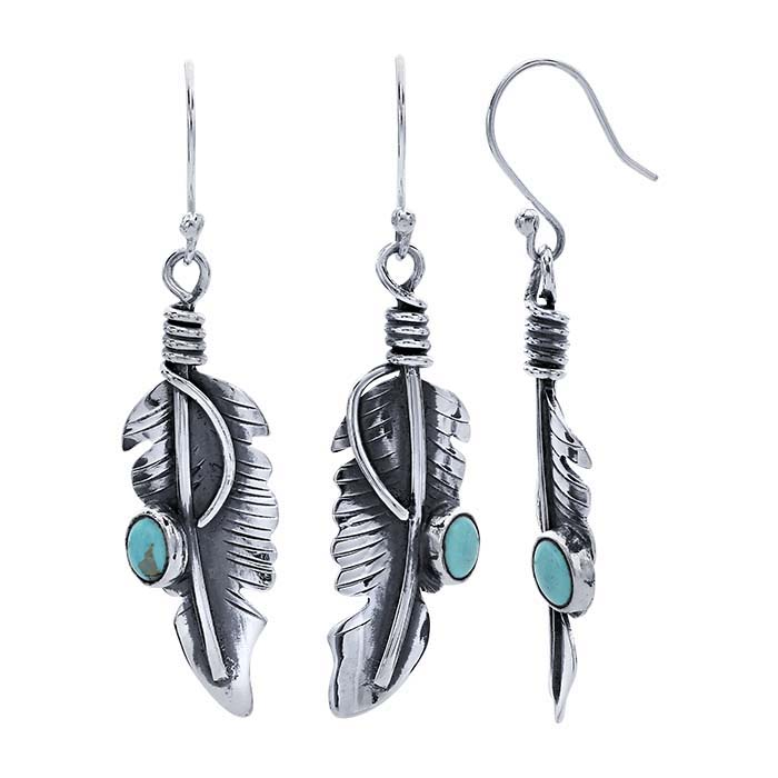Sterling Silver Feather Earrings with Imitation Turquoise Cabochon