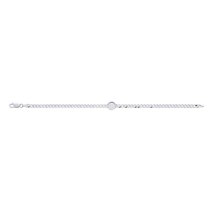 Sterling Silver 3.7mm Diamond-Cut Curb Chain Bracelet with 8mm Round Bezel