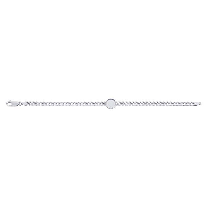 Sterling Silver 4.4mm Diamond-Cut Curb Chain Bracelet with 10mm Round Bezel