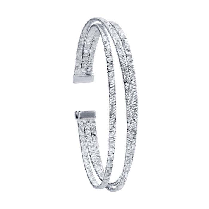 Sterling Silver Wire-Wrapped Three-Row Cuff Bracelet