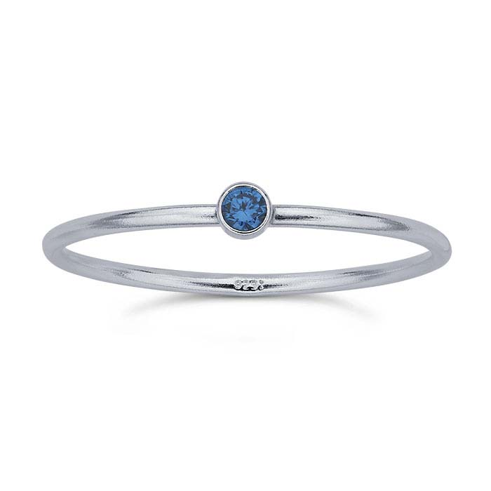 Sterling Silver Round Aqua-Blue CZ-Set Rings