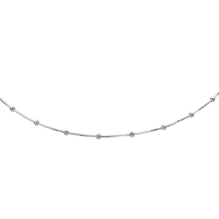 Sterling Silver Tin-Cup Box Chain Choker-Length Necklace