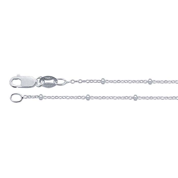 Sterling Silver 1.2mm Cable Chains with 1.7mm Diamond-Cut Beads
