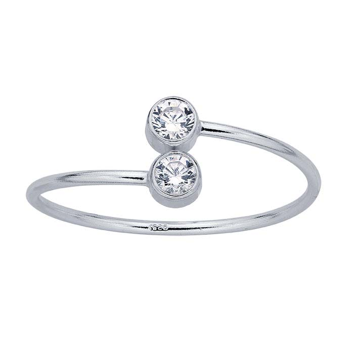 Sterling Silver Double CZ-Set Bypass Ring, Adjustable
