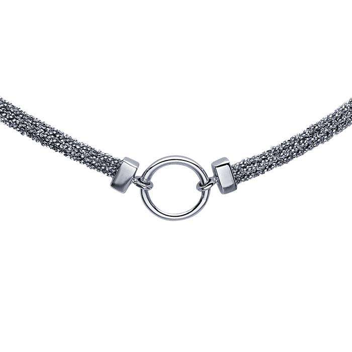 Sterling Silver Rhodium-Plated Choker-Style Necklace with Center Ring Accent