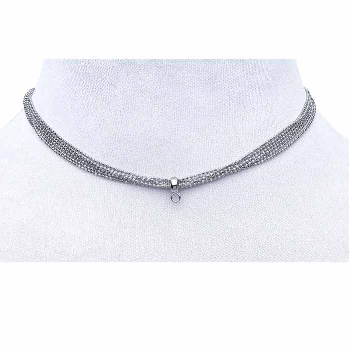 Sterling Silver Rhodium-Plated Choker-Style Necklace with Slider Accent