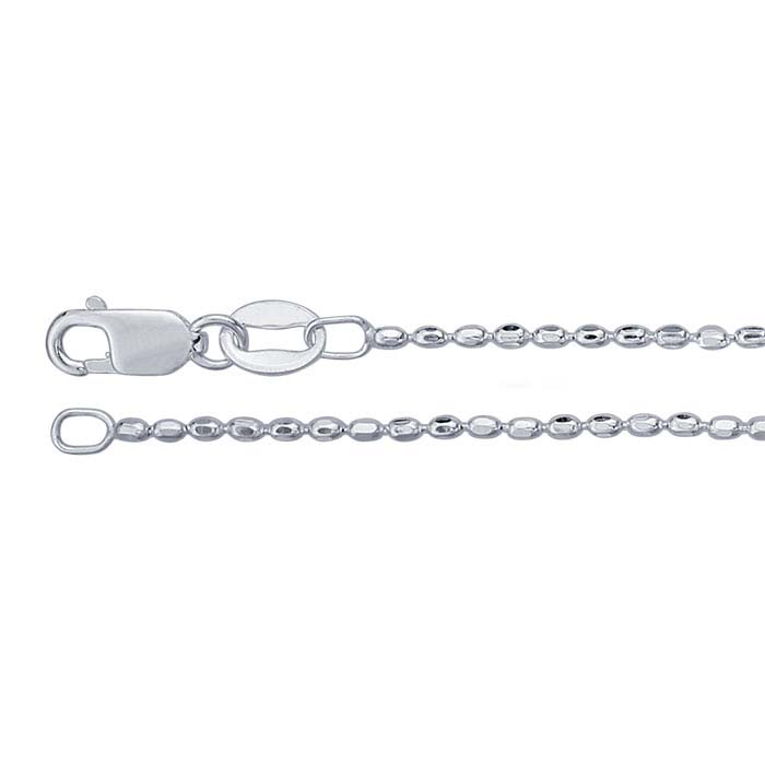 Sterling Silver 1.2mm Diamond-Cut Oval Bead Chains