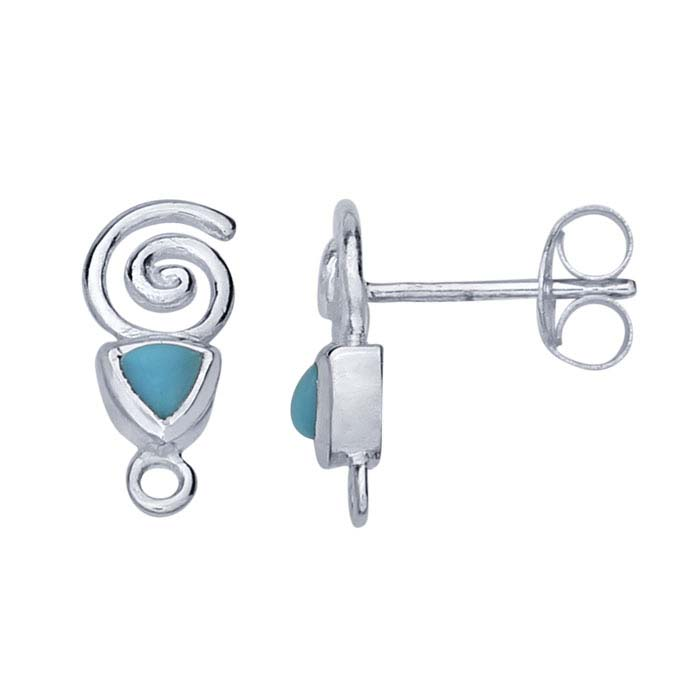 Sterling Silver Swirl Design Turquoise-Set Post Earring with Closed Ring