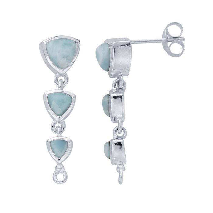Sterling Silver Larimar-Set Post Earring with Closed Ring