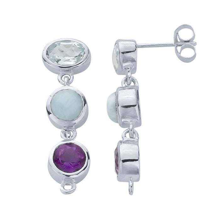 Sterling Silver Gemstone-Set Post Earring with Closed Ring