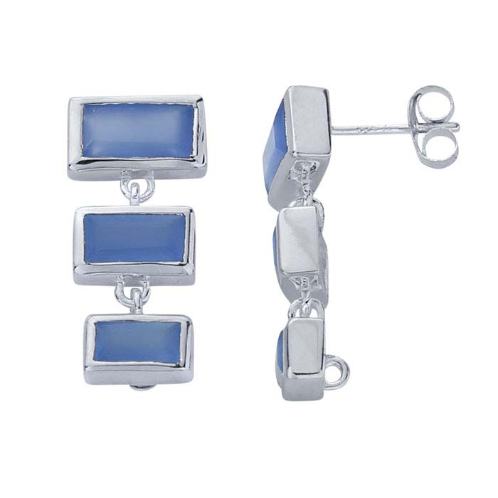 Sterling Silver Blue Chalcedony-Set Post Earring with Closed Ring