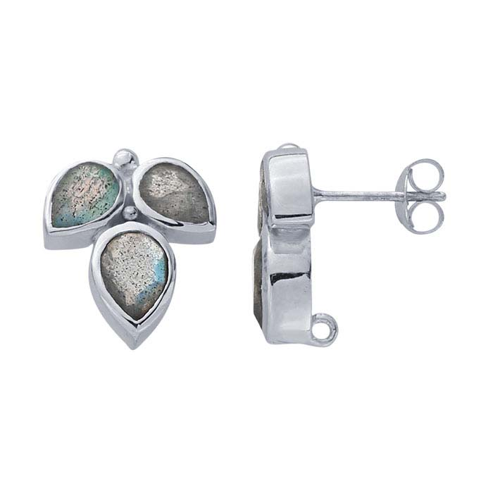 Sterling Silver Labradorite-Set Post Earring with Closed Ring