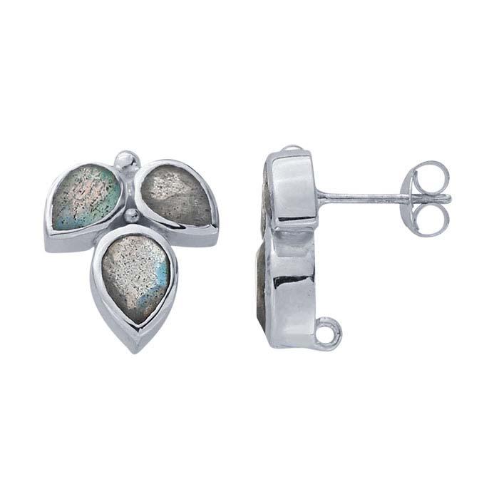 Sterling Silver Labradorite-Set Post Earring