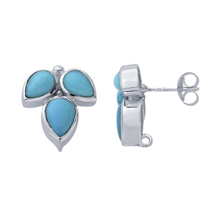 Sterling Silver Turquoise-Set Post Earring with Closed Ring