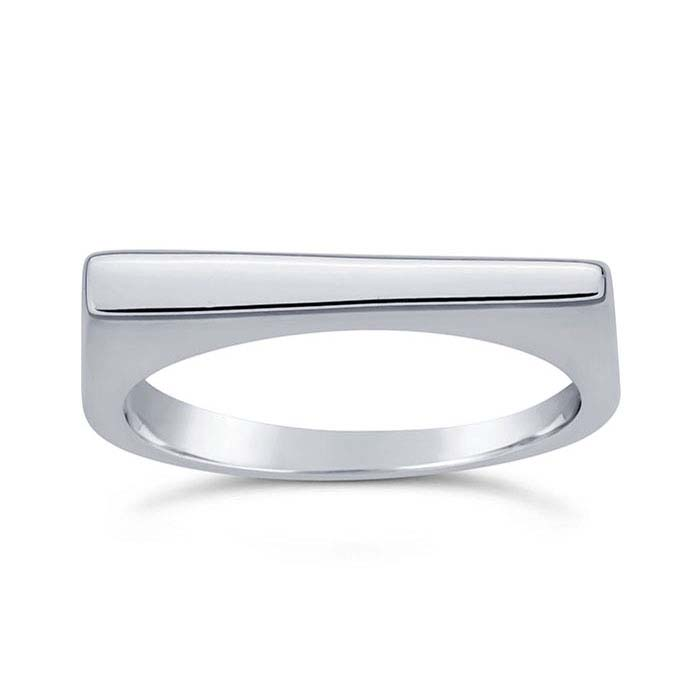 Sterling Silver Tapered Bar Stackable Rings