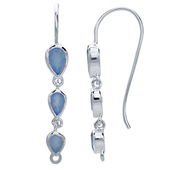 Sterling Silver Blue Chalcedony-Set Ear Wire with Closed Ring
