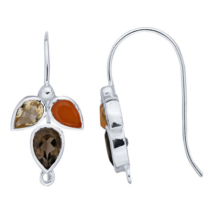 Sterling Silver Gemstone-Set Ear Wire with Closed Ring
