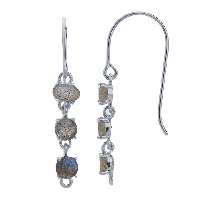 Sterling Silver Labradorite-Set Ear Wire with Closed Ring