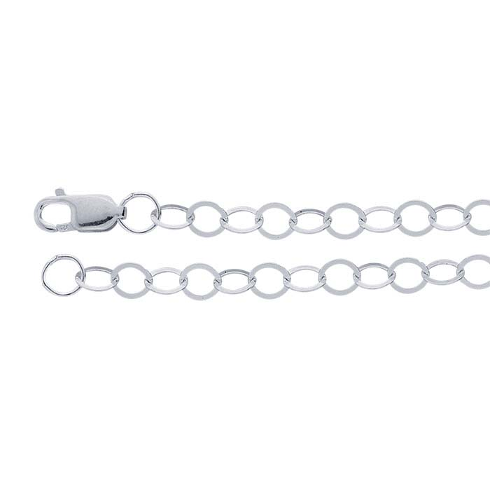 Sterling Silver 3.5mm Flat Round Cable Chain
