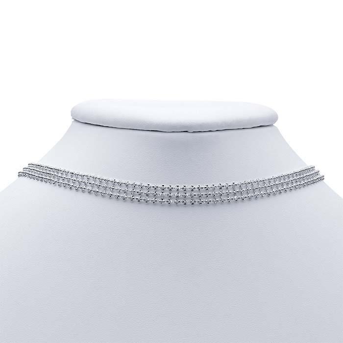 Sterling Silver 8mm Diamond-Cut Bead Choker Necklace