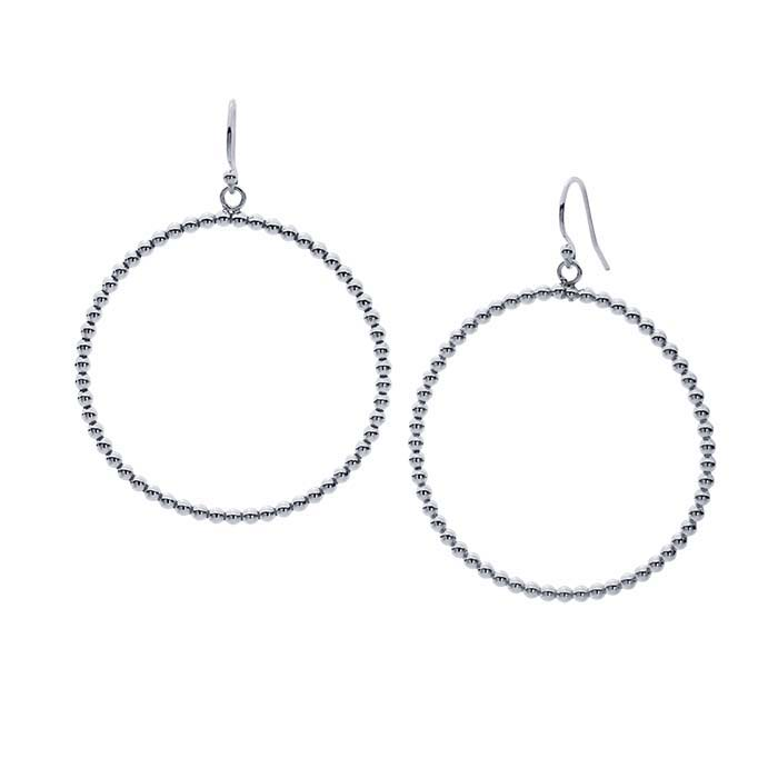 Sterling Silver Bead-Wire Hoop Earrings