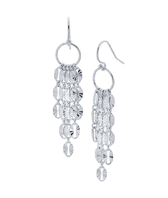 Sterling Silver Chain Textured Link Tassel Earrings