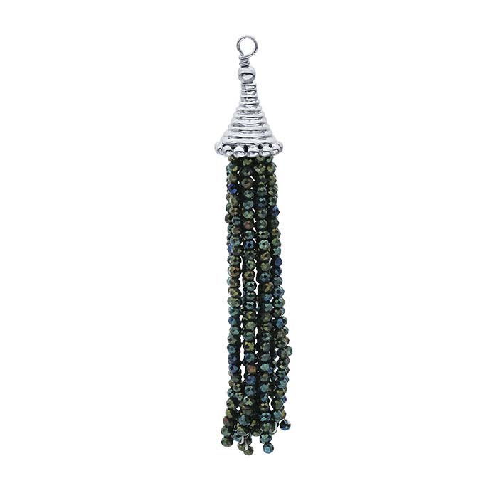 Sterling Silver Green-Coated Black Spinel Tassel Component