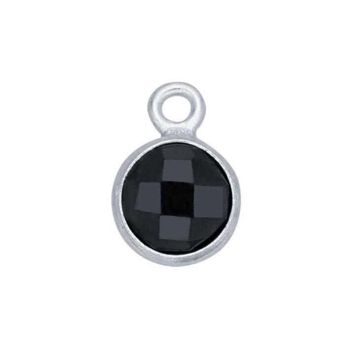 Sterling Silver Round Checkerboard Black CZ-Set Component