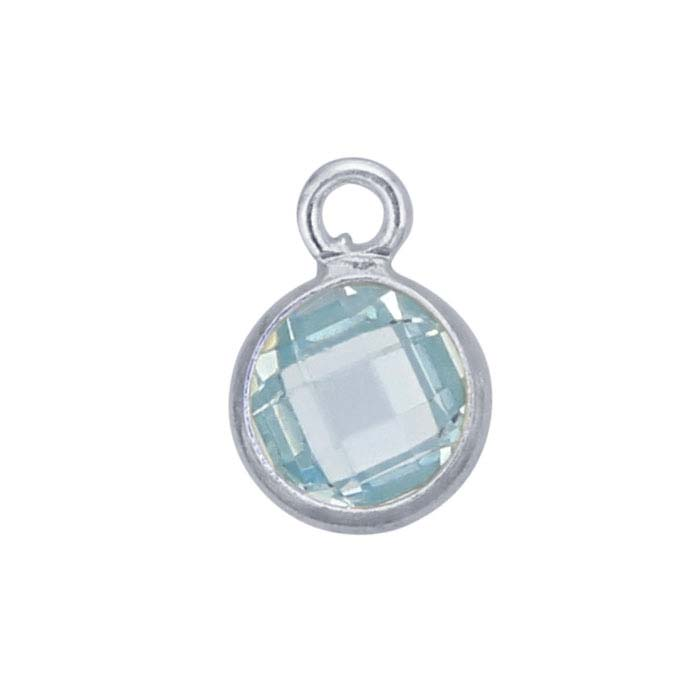 Sterling Silver Round Checkerboard Light-Blue CZ-Set Component