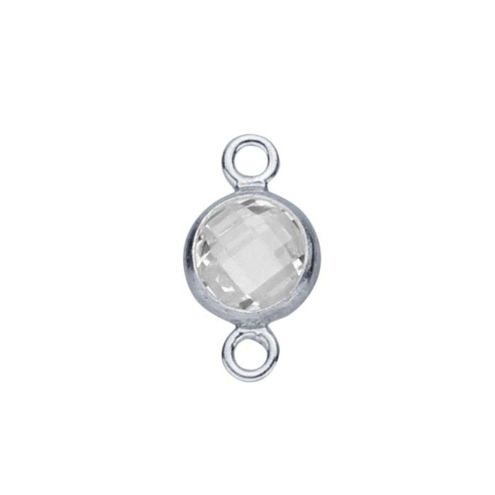 Sterling Silver Checkerboard CZ-Set Round Link Component