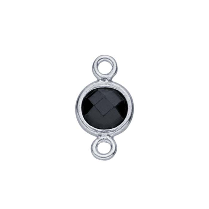 Sterling Silver Checkerboard Black CZ-Set Round Link Component